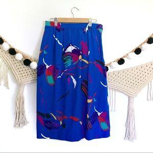 Vintage Cobalt Blue Abstract Floral Midi Skirt